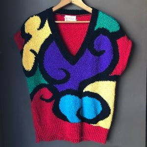 Vintage 80s V Neck Sweater Vest Colorful Retro Rad